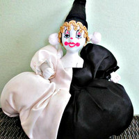 Stunning vintage porcelain clown doll, collectible clown, black and white clown doll, home decor