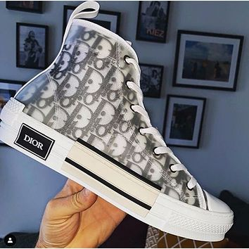 Hipgirls Dior Hot Fashion Couple Printed Letters Translucent Casual Sneakers Shoes