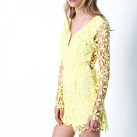 LEMON FLORAL BLOOM CROCHET ROMPER