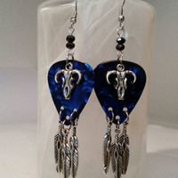 Guitar Pick Jewelry by Betsy's Jewelry - Guitar Pick Earrings - Country Western - Rodeo - Native American Styles -Dangle Earrings - Feathers