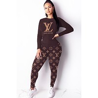 LV Louis Vuitton Autumn And Winter Fashion New Letter Monogram Print Long Sleeve Top And Pants Two Piece Suit Coffee