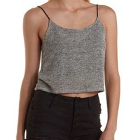Heather Gray Strappy Sweater Knit Crop Top by Charlotte Russe