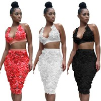 Flower Backless Vest with Knee-length Skirt Two Pieces Dress Set