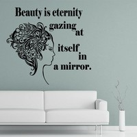 Wall Decals Quote Beauty Is Eternity Gazing At Decal Girl Flower Vinyl Sticker Home Art Bedroom Home Decor Beauty Salon Ms250