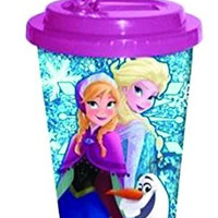 Silver Buffalo DP9784 Disney Frozen Family Glitter BPA-Free Plastic Flip Straw Cold Cup, 16 oz., Purple