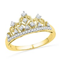 10kt Yellow Gold Womens Round Diamond Tiara Crown Band Ring 1/5 Cttw