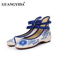 Fashion Women Shoes Old Beijing Mary Jane Flats With Casual Shoes Chinese Style Embroidered Cloth Shoes Woman Plus Size