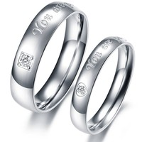 """Fashion Jewelry """"You Are Perfect in My Mind"""" AAA High Quality Cz Titanium Stainless Steel Couple Ring"""