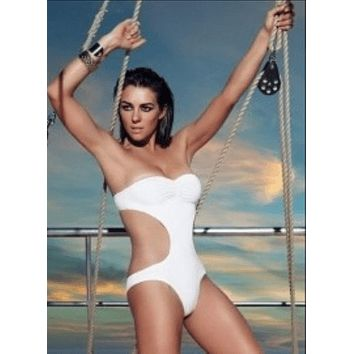 White One Piece Swimsuit with Cut Out Side Ties