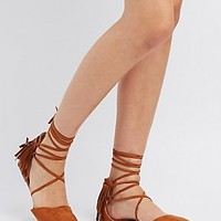 FRINGED POINTED TOE D'ORSAY FLATS