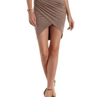 Gray Ruched Faux Suede Wrap Skirt by Charlotte Russe