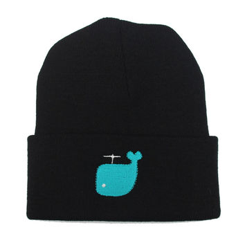 Whale Embroidered Winter Fashion Cotton Beanie Animal Blue Wool Knitted Outdoor Warm Womens & Mens Black Cuffed Skully Hat