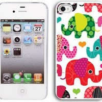 Apple iPhone 4 4S 4G White 4W1 Hard Back Case Cover Colorful Elephants Hearts