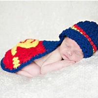 1 set Newborn Cute Superman Infant Baby Boys Girls Knit Crochet Handmade Photography Photo Props Size Fit 0-12 Months (Size: 0-6m) = 1946466692