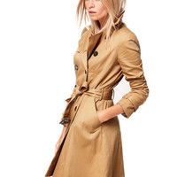 Lapel Collar Double Breasted  Belted Long Sleeves Coat