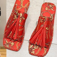 New large size women's shoes totem tassel silk top flat sandals and slippers for women's outer wear