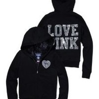 Amazon.com: Victoria's Secret LOVE PINK Fashion Show Sequins Bling Fur Lined Hoodie Jacket S Black: Health & Personal Care