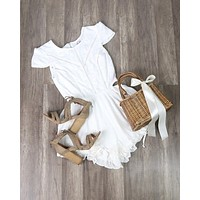 FINAL SALE - Thalia Crochet Cap Sleeve Short Romper in White