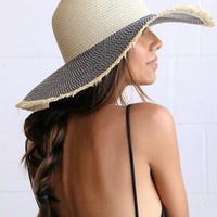 Palmetto Blue and Beige Floppy Straw Hat