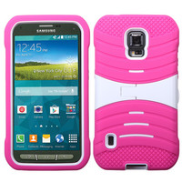 MYBAT Wave Symbiosis Stand Case for Galaxy S5 Active - White/Hot Pink