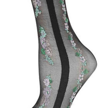 Black Sheer Floral Pop Socks - New In This Week  - New In