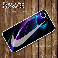 White nike JUST DO IT with galaxy Pattern : Handmade Case for Iphone 4/4s , Iphone 5 Case Iphone