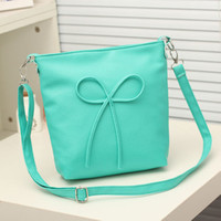 New 2016 Hot selling high quality fashion bow messenger bags 13-colors women summer PU handbag one shoulder bags bolsos