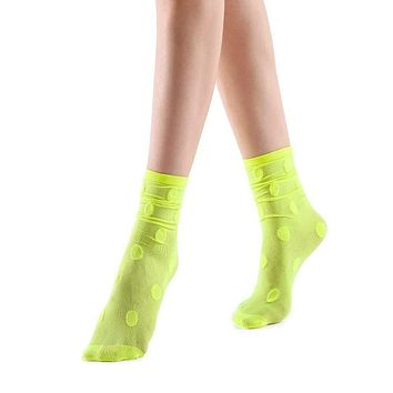 Marella Polka Sheer Mid High Sock | Neon Yellow