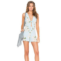 SIMPLE - Popular Women's Fashionable Floral Deep V Sexy Casual Sleeveless Backless Chiffon Party Beach Summer Mini One Piece Dress b3029