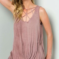 Mauve Criss Cross Sleeveless Top