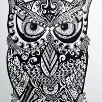 "Owl Pen and Ink Print 8.5 "" x 11"" Home Decor Artwork - Hand Drawn Art - Black and White"