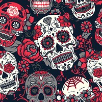 Mexican Death Day Skull Rose Bud Calavera Multicolored Wallpaper Reusable Removable Accent Wall Interior Art (wal084)