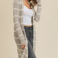 Miley Stripe Cardigan (Grey)