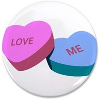 """Love Me Candy Hearts 3.5"""" Button> Love Candy Hearts> Sheldon To Mr Darcy Art by Alice Flynn"""