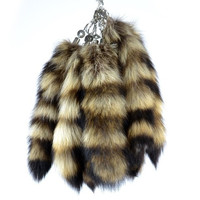 """Authentic Raccoon Tail Fur Keychains Natural Color Bag Hanging Tag Car Key Chain 11"""" = 1932580036"""