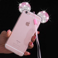 Luxurious 3D Diamond Minnie Mickey Mouse Case For iPhone 6 6S 6 Plus 6S Plus ears Soft Transparent TPU phone Covers Cases Bags