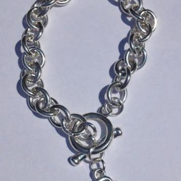Silver Bracelet with a Heart Ribbon Charm for Mental Health Awareness