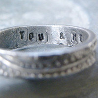 You and Me rustic secret message anniversary ring by SimpleDaisy