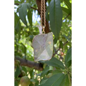 Clear Quartz Gem Stone Necklace #I1188