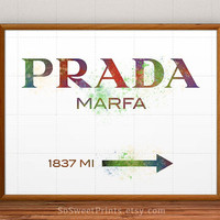 Prada Marfa Poster, gossip girl, Prada wall art, Watercolor, Prada Print, Prada Marfa decor, Prada wall, illustration, home decor, 16x20