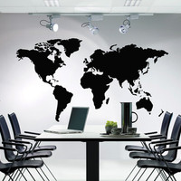 Huge World Map Atlas Vinyl Decal Wall Sticker Furniture Removable Art Decal Decor DIY ! Free shipping! Great for Meeting and Living rooms!
