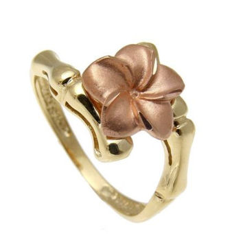 SOLID 14K ROSE GOLD YELLOW GOLD HAWAIIAN 10MM PLUMERIA FLOWER RING BAMBOO DESIGN