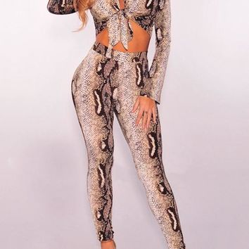 Brown Snake Skin Pattern Two Piece Turndown Collar High Waisted Club Long Jumpsuit