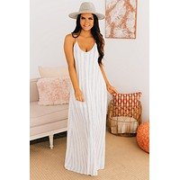 Sail Away Striped Maxi Dress (Ivory)
