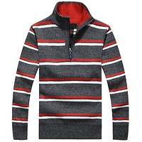 Brand Clothing New Winter thick Cashmere Sweater men Top Quality Sweater Business Style Pullovers Mens Striped Half Zip Sweaters