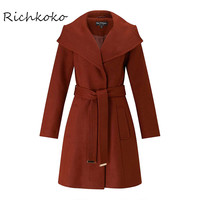 Richkoko Fashion Rust Wrap Fit and Flare Coat Red Thicken Sashes Winter Warm Trench Coat Autumn Slim Casual Chic Female Outwear