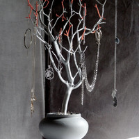 """Jewelry Holder Organizer Tree Silver Coral and Gray 23"""" painted tabletop tree necklace hanger bedroom decor for her"""