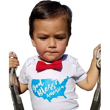 Baby Boy Fourth of July Outfit Shirt God Bless America Red Bow Tie