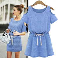 Cut Out-Shoulder Tie Waist Short-Sleeve Dress