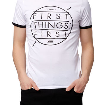 Guys 'First Things First' Graphic Ringer Tee